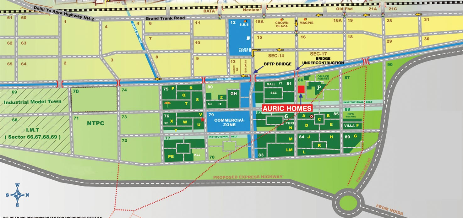 location map of auric flats in faridabad
