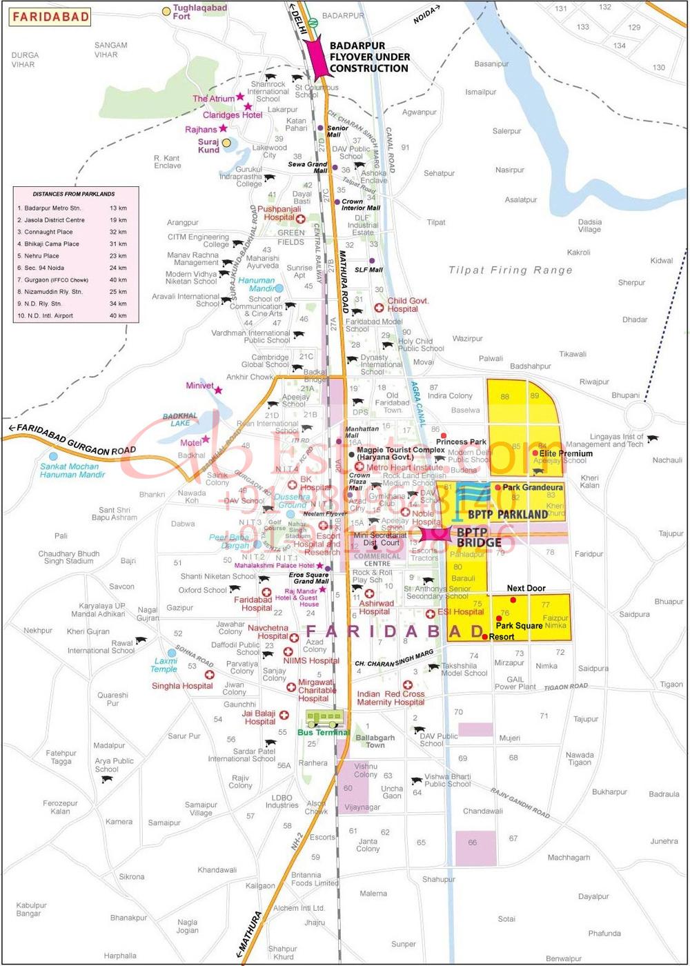 Location Map Of bptp elite floors faridabad
