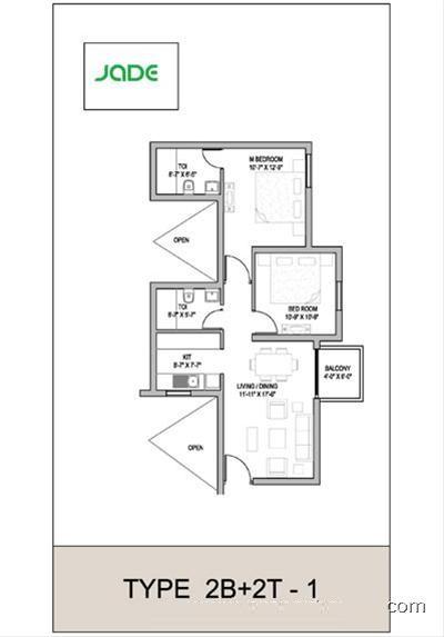 floor plan of 2bhk jade uppal faridabad