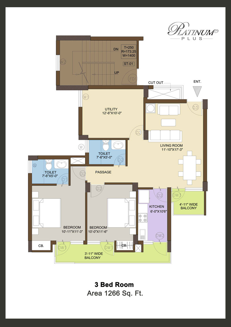 Klj platinum heights plus 3bhk Floor Plan