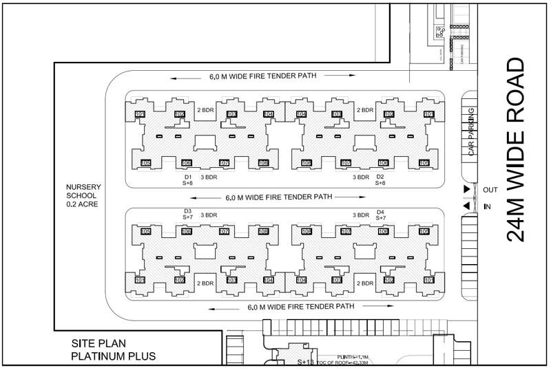 site plan of klj platinum plus faridabad