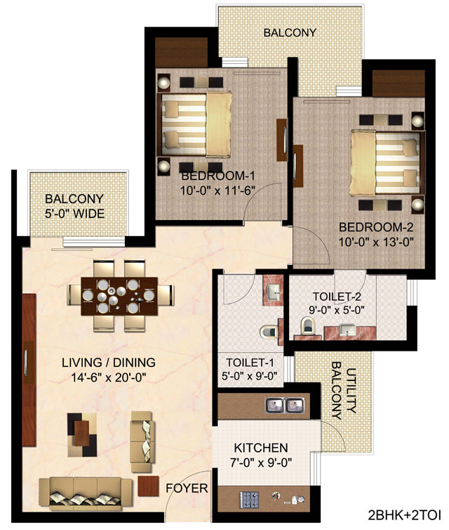 Floor Plan of 1220 sqft in mulberry county faridabad