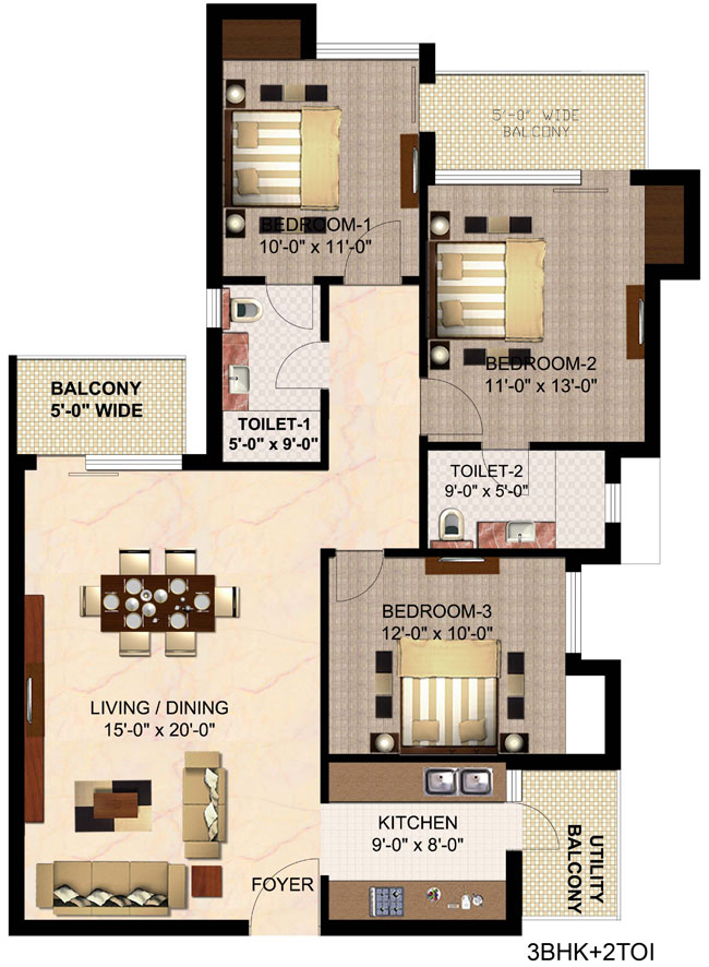 Floor Plan of 1525 sqft in mulberry county faridabad
