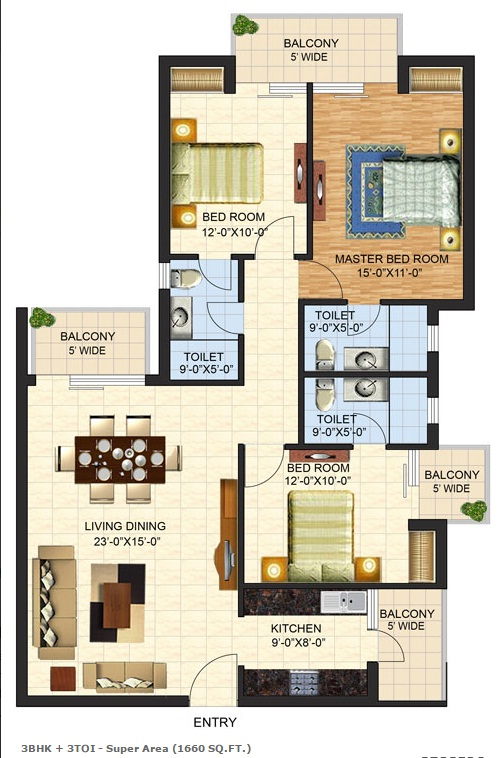 Floor Plan of 1660 sqft in mulberry county faridabad