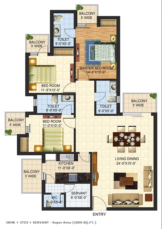 Floor Plan of 1806 sqft in mulberry county faridabad