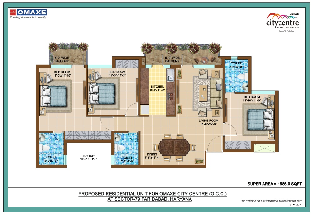 Floor Plan of omaxe royal residency faridabad