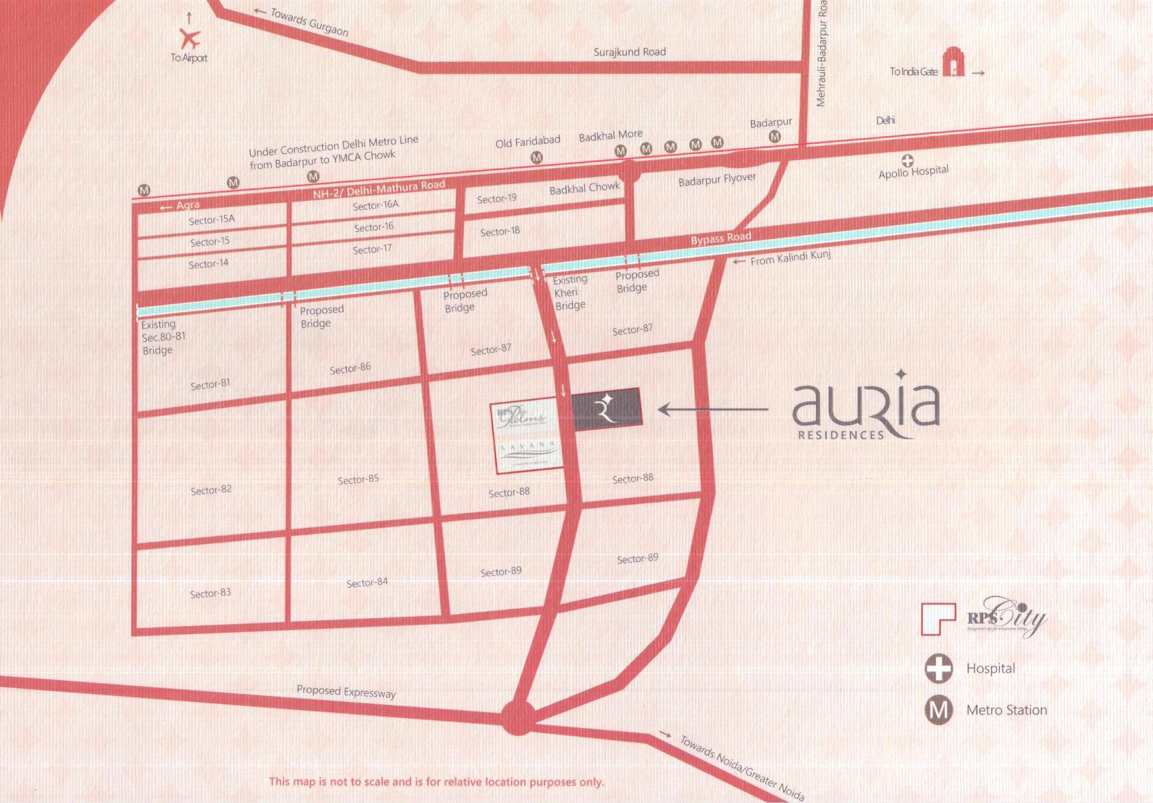 LOCATION OF RPS AURIA FARIDABAD