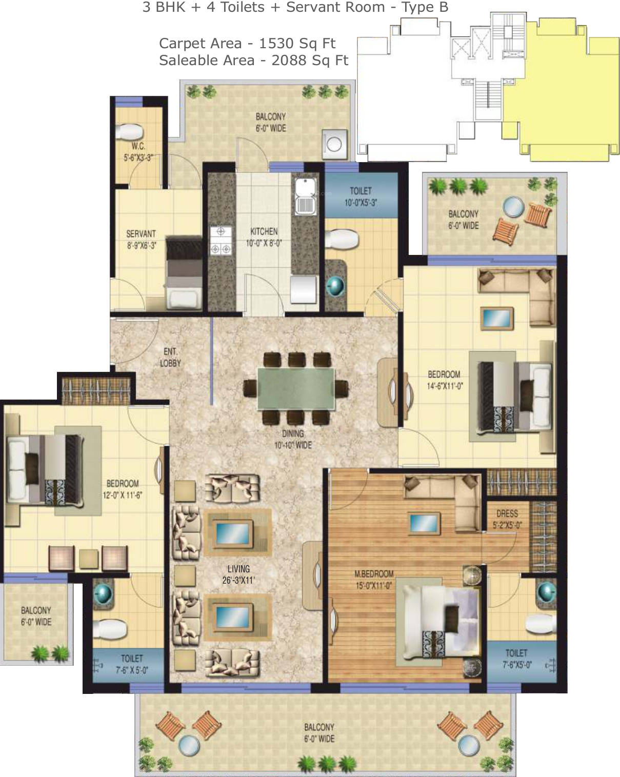 Floor Plan of 3+1bhk 2088 sqft in Sarvome The Presidio faridabad
