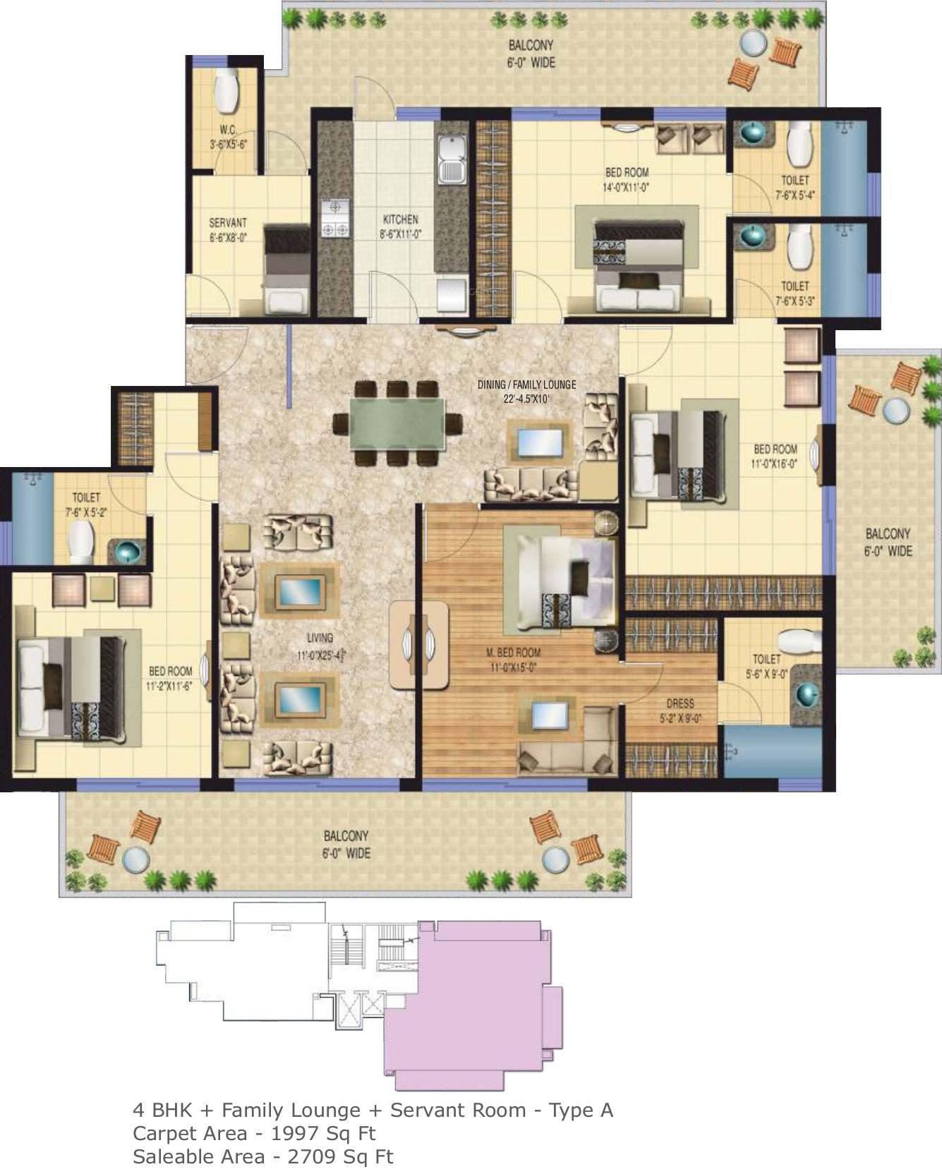 Floor Plan of 4bhk 2709 sqft in Sarvome The Presidio faridabad