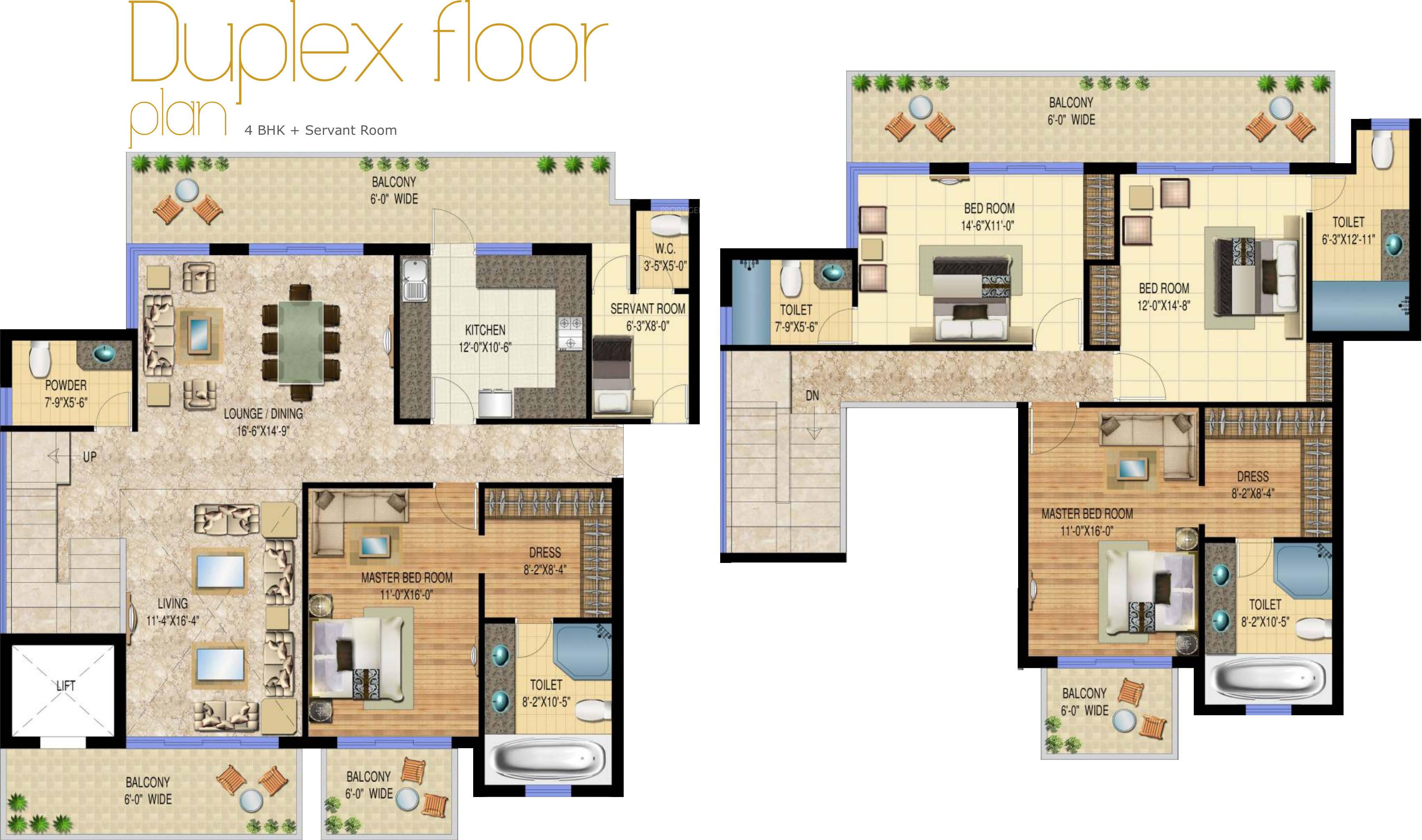 Floor Plan of 4bhk 3807 sqft in Sarvome The Presidio faridabad