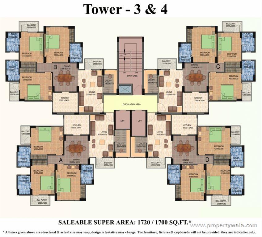 sai vatika apartments sec 63 3bhk Floor Plan
