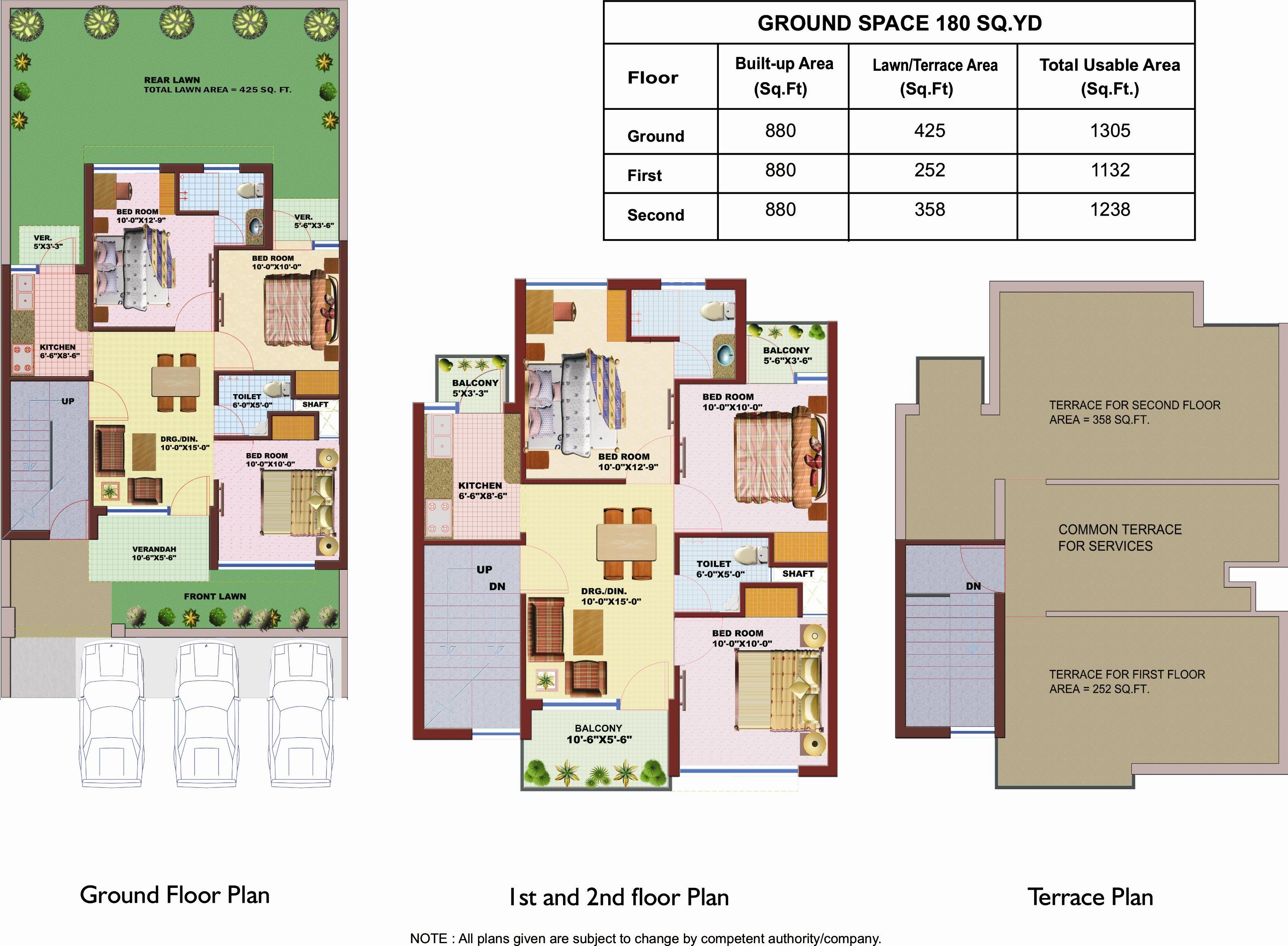 Floor Plan of 180 sqyd SRS Pearl Floors Faridabad