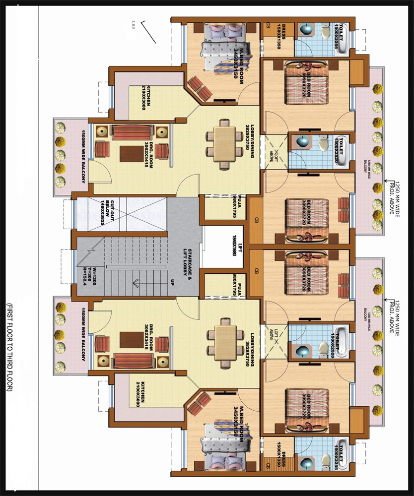 Floor Plan of 250 sqyd SRS Pearl Floors Faridabad