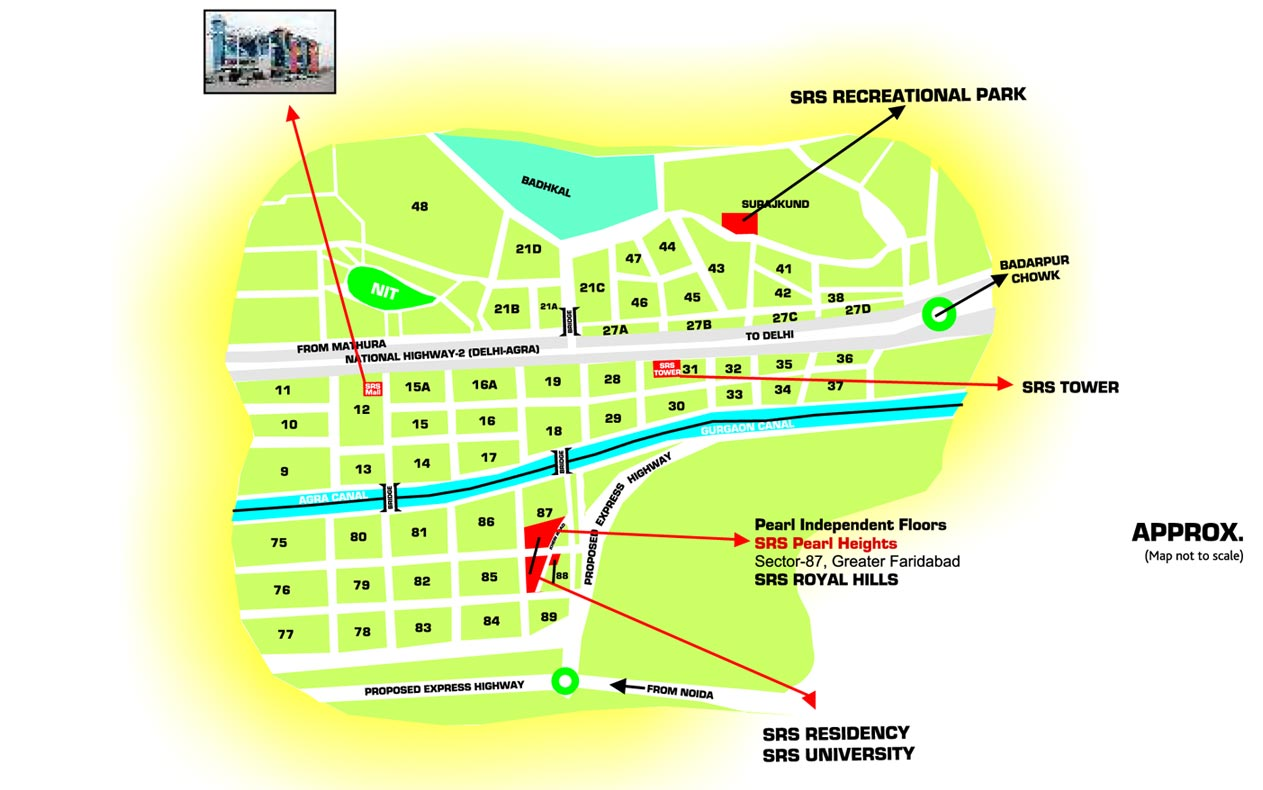 location map of srs pearl floors faridabad