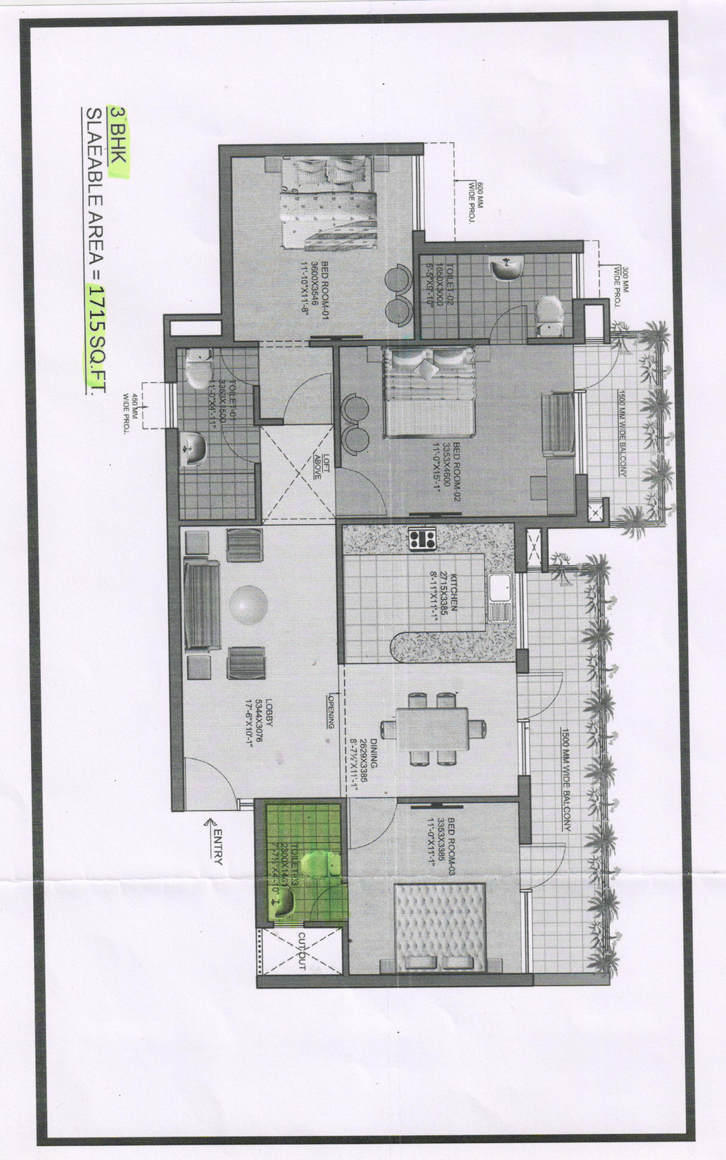Omaxe heights Floor Plan