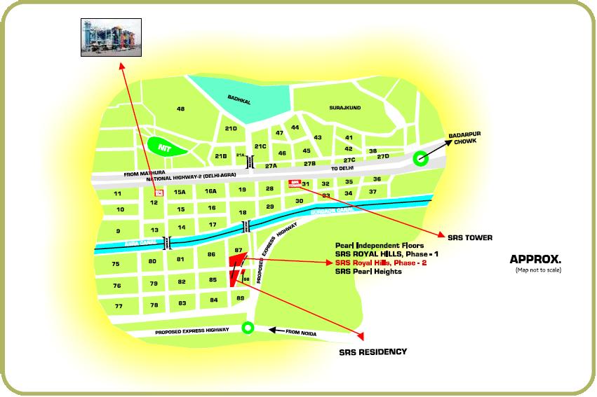 srs royalhills phase 2 faridabad Site Map